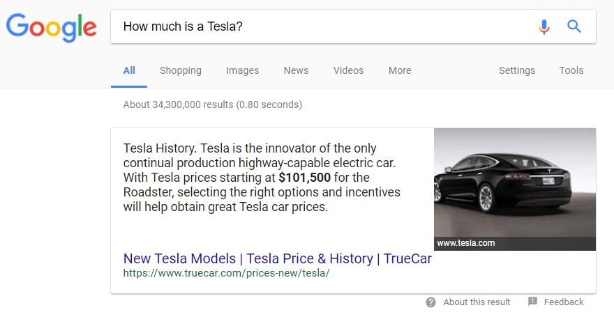 на позиции Google 0 находится сайт truecar.com по региону выдачи New York, который даже не входит в ТОП 5 по запросу «buy tesla us»