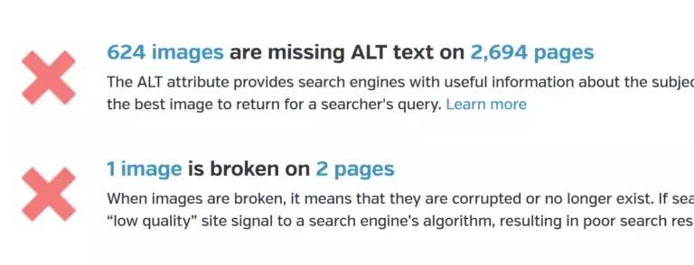 отсутствие alt-подписей для изображений;