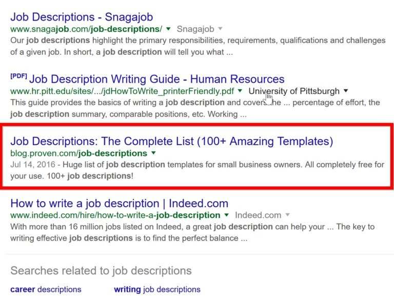 После всех изменений Google оперативно поместил Proven на первую страницу в выдаче по ключевому слову «описание должностных инструкций», а трафик взлетел