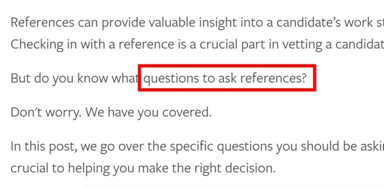 В этот текст добавили ключевой запрос«как просить рекомендации»
