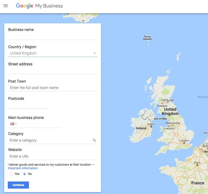зарегистрировать бизнес в Google